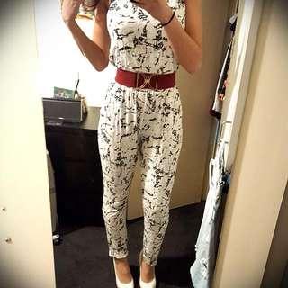 White Patterned Jumpsuit Size M/L