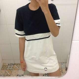 Black And White Long Tee Dress