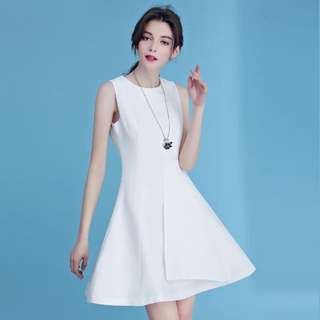 White Dress A Line One Piece 白色連身裙雪紡