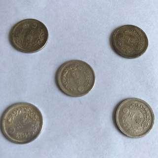 明治8年,9年,10年,五錢銀幣。原品、帶光。
