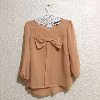 Forever 21 - Ribbon Longsleeves Top