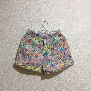 Highwaist Floral Shorts Maong