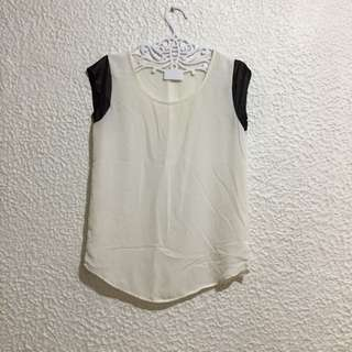 White Top With Leather Sleeve