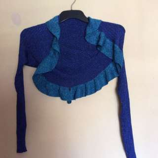 Mimco Blue Lurex Knitted Cardigan Size Small