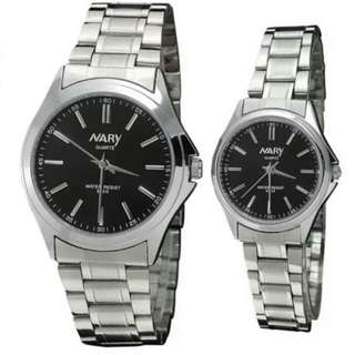 Nary 6100 Lover's Couple Stainless Steel Strap Quartz Wristwatch (silver/black)