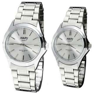 Nary 6100 Lover's Couple Stainless Steel Strap Quartz Wristwatch (Silver/White)