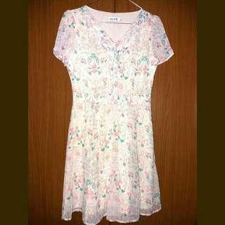 Mint White Flower Dress
