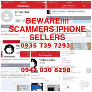 BEWARE OF SCAMMERS!!! IPHONE SELLERS