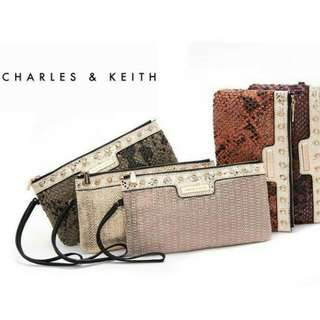 Authentic Charles & Keith Sequined Print Multifunctional Day Clutch/ Wristlet