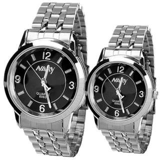 Nary Couple Black/Silver Stainless Steel Strap Watch 6063
