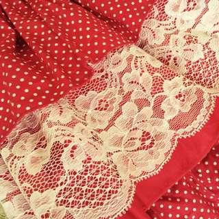 SALE! Baju Pesta Anak Merah Polkadot Renda/ Girl Party Dress Red Polka With Lace