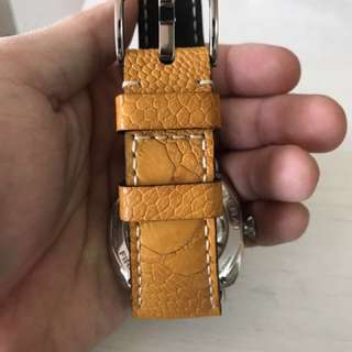 Paolo18 Yellow Ostrich Leg Strap 27mm For Panerai