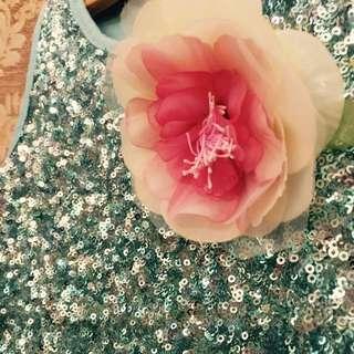 SALE! Gaun Pesta Anak Toska Full Payet Dengan Bros Bunga/ Girl Party Dress Torquise With Flower Brooch