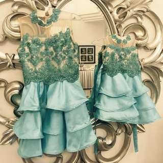 REPRICE! Baju Pesta Couple Mom & Girl Biru Dan Fuschia Bahan Brokat
