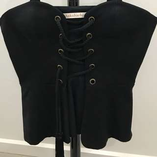 SHAKUHACHI - Lace Up Top Size 10