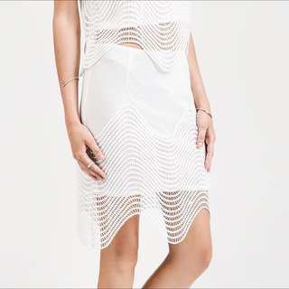 BNWT JOA Scalloped Skirt White