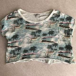 Zara 短版上衣 椰子樹