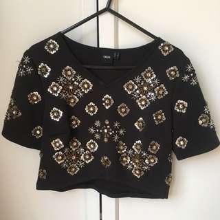 ASOS Embellished Crop Top - Size 6 Black And Gold