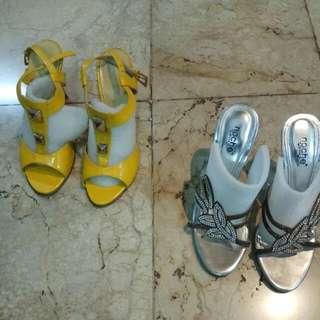 Heels Sepatu Tinggi Wanita Kuning Dan Silver