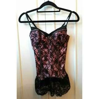 Pink & Black Lace Corset