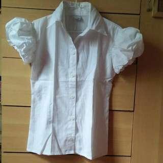 White Puffed Sleeve Blouse