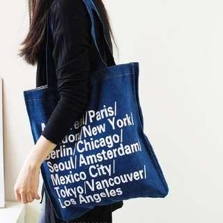 全新深藍牛仔布袋 Tote Bag