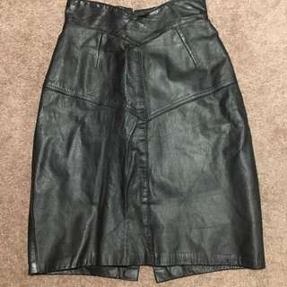 Genuine Leather Black Skirt With Zip