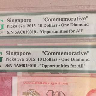 📣Repeater Serial no's  & Identical no's 🇸🇬SG50 Notes of $10 Currency