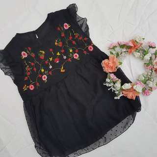 Embroidered Top (Black)
