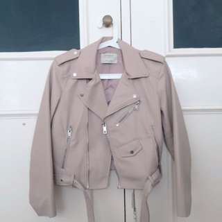 ZARA leather a jacket in Blush Pink or Nude