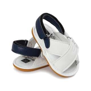小市民倉庫-時尚白色露趾膠底涼鞋-學步鞋-寶寶鞋-嬰兒鞋-娃娃鞋-童鞋-學走鞋-涼鞋-粘扣設計-彌月送禮-外出行走