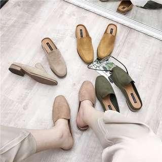 🚚 Summer! 多色 方頭 懶人 絨面 半包鞋 樂福鞋 便鞋