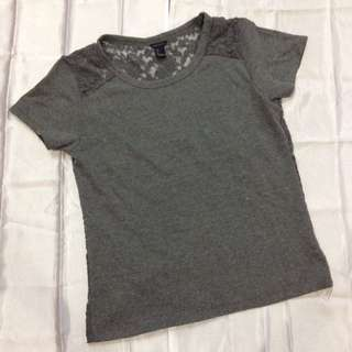 """Forever 21"" Grey Back Lace Top"