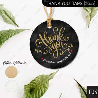 [$0.50/pc] 'THANK YOU' Favour Tags Labels in Black / Brown / White [MONO Series]