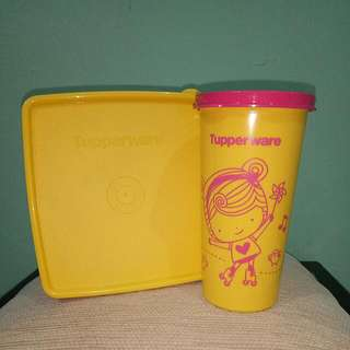 Tupperware Set (Lunch Box & Drinking Cup)