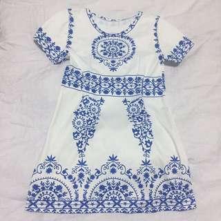 White Porcelain Print Dress