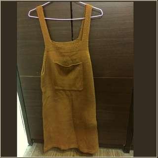 復古棕色針織吊帶裙