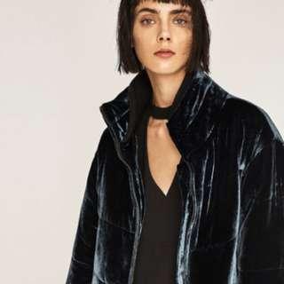 Zara Quilted Velvet Jacket Size S