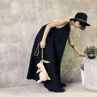 《早·衣服》七月盛夏🌞袍系!小眾款暗黑文藝范大露背掛脖背帶吊帶棉麻洋裝(預)