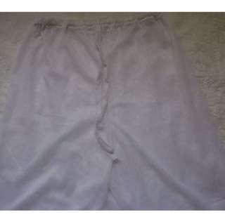 White Netted Drawstring Beach Pants