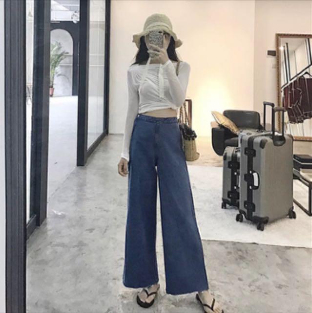 [長褲]2017復古高腰牛仔寬褲-深藍m號-材質有挺度的、全新附吊牌(特賣中)