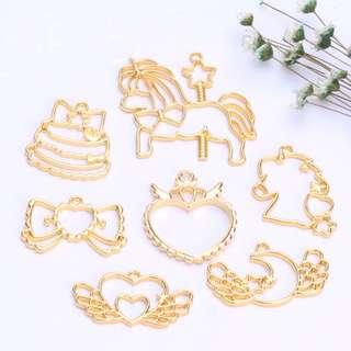 Brand New : Resin/ UV Resin Crafting Supplies, Gold Open Bezels - Magical Series, Unicorn Open Bezels