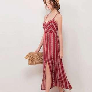 紅色波西米亞 露背渡假 性感長洋 洋裝