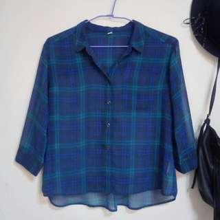 Uniqlo 藍綠雪紡襯衫