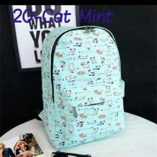Mint Cat Schoolbag