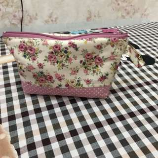Pouch Mini Sabby Chic Pink Flowers
