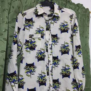 Tomato Catch The Panther Button-down Top