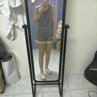 🚚 藍色蕾絲小碎花文青褲裙連身洋裝