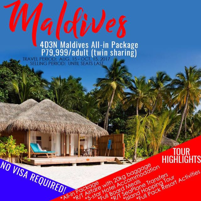 😍✈️❗️4D3N Maldives All-In Package❗️😍✈️