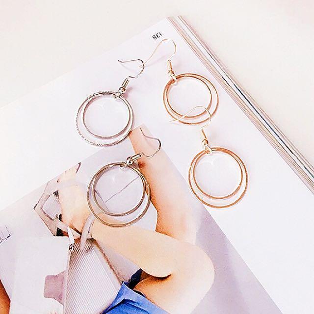 韓式雙圈耳飾